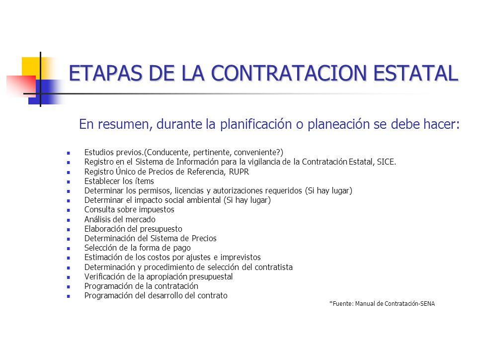 ETAPAS DE LA CONTRATACION ESTATAL En resumen, durante la planificación o planeación se debe hacer: Estudios previos.(Conducente, pertinente, conveniente?) Registro en el Sistema de Información para la vigilancia de la Contratación Estatal, SICE.