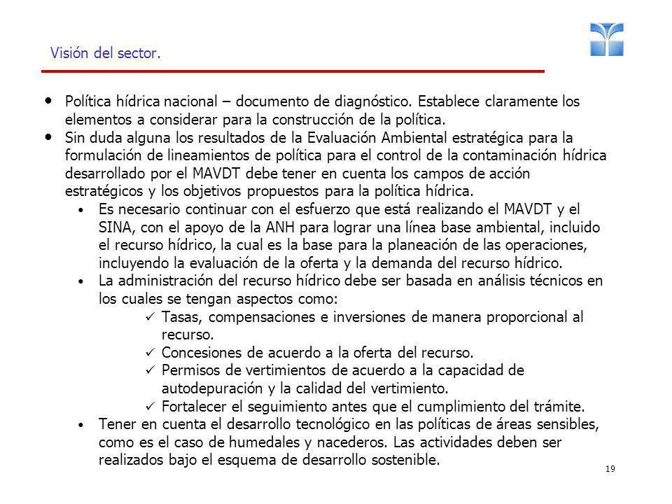 19 Visión del sector. Política hídrica nacional – documento de diagnóstico. Establece claramente los elementos a considerar para la construcción de la