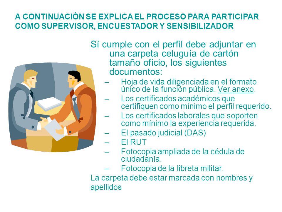 Sí cumple con el perfil debe adjuntar en una carpeta celuguía de cartón tamaño oficio, los siguientes documentos: –Hoja de vida diligenciada en el for