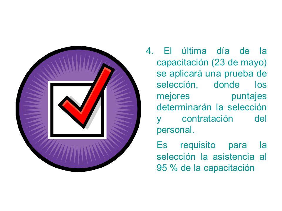4. El última día de la capacitación (23 de mayo) se aplicará una prueba de selección, donde los mejores puntajes determinarán la selección y contratac