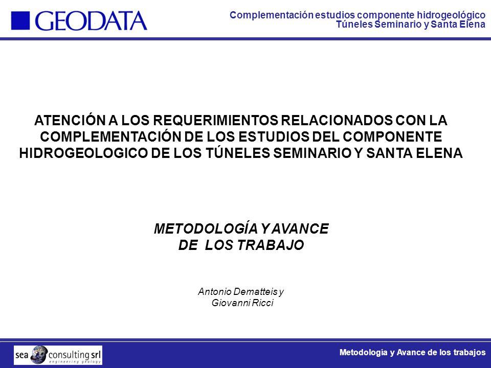 Complementación estudios componente hidrogeológico Túneles Seminario y Santa Elena Metodología y Avance de los trabajos Personal Principal