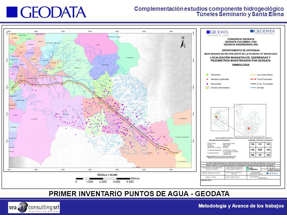 Complementación estudios componente hidrogeológico Túneles Seminario y Santa Elena Metodología y Avance de los trabajos PRIMER INVENTARIO PUNTOS DE AG