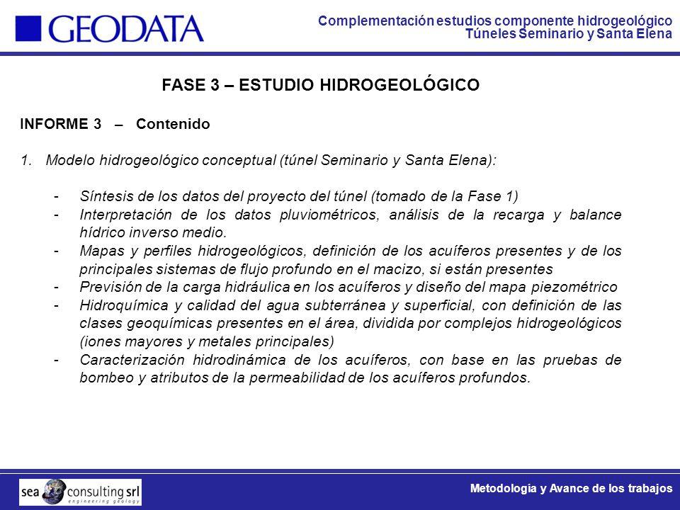 Complementación estudios componente hidrogeológico Túneles Seminario y Santa Elena Metodología y Avance de los trabajos FASE 3 – ESTUDIO HIDROGEOLÓGIC