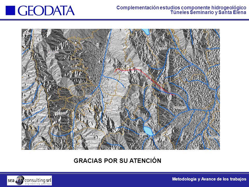 Complementación estudios componente hidrogeológico Túneles Seminario y Santa Elena Metodología y Avance de los trabajos GRACIAS POR SU ATENCIÓN