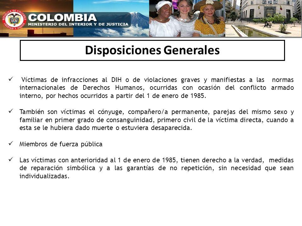 Disposiciones Generales Víctimas de infracciones al DIH o de violaciones graves y manifiestas a las normas internacionales de Derechos Humanos, ocurri
