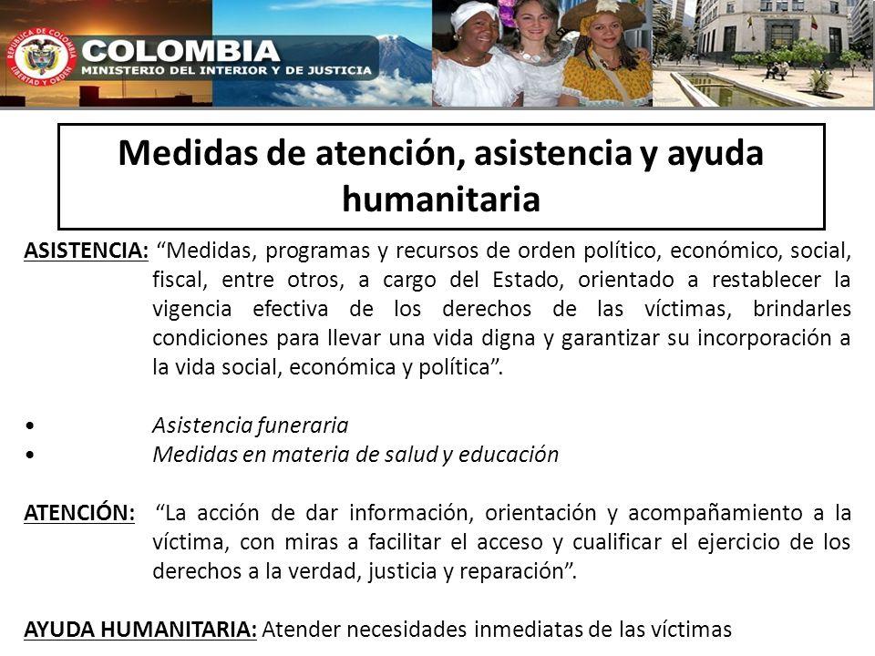Medidas de atención, asistencia y ayuda humanitaria ASISTENCIA: Medidas, programas y recursos de orden político, económico, social, fiscal, entre otro