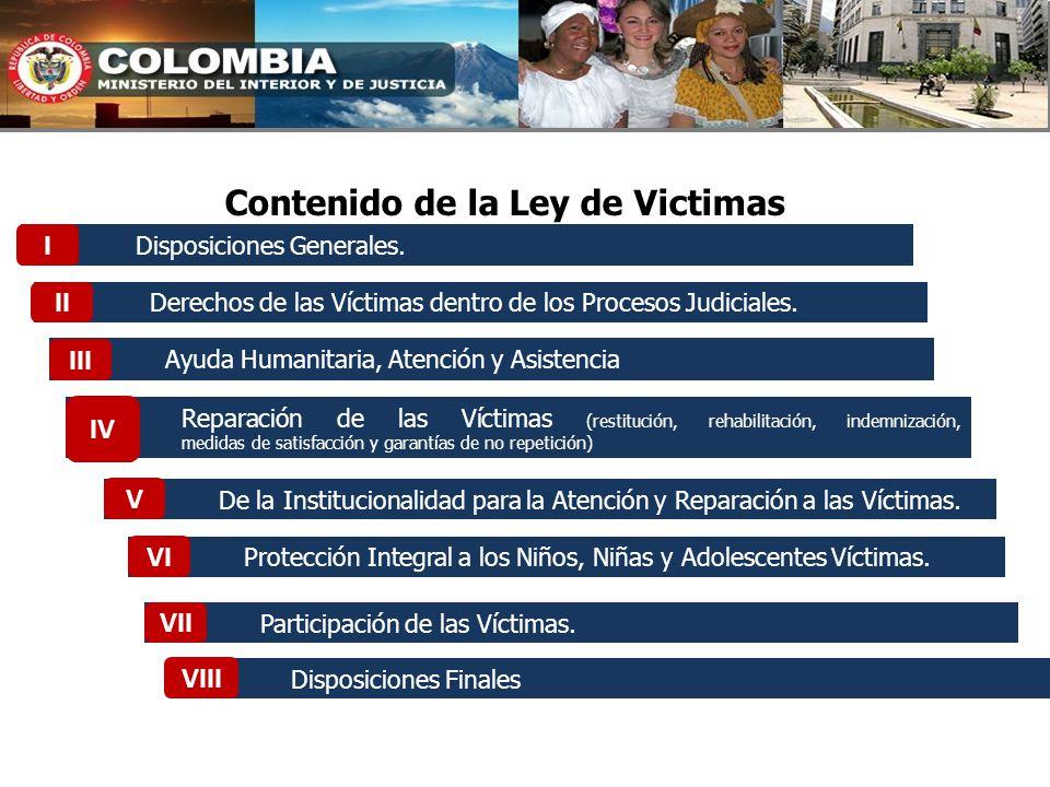 Disposiciones Generales. Derechos de las Víctimas dentro de los Procesos Judiciales. Ayuda Humanitaria, Atención y Asistencia Reparación de las Víctim