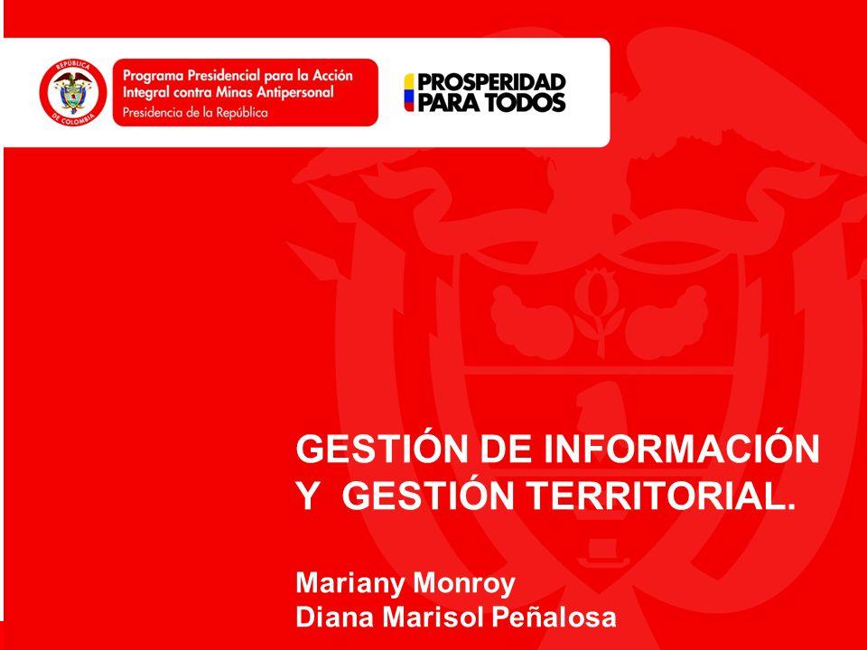 www.accioncontraminas.gov.co GESTIÓN DE INFORMACIÓN Y GESTIÓN TERRITORIAL. Mariany Monroy Diana Marisol Peñalosa