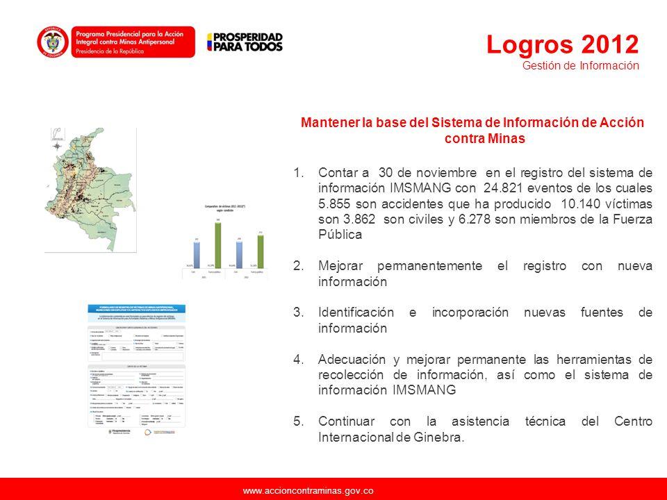 www.accioncontraminas.gov.co Mantener la base del Sistema de Información de Acción contra Minas 1.Contar a 30 de noviembre en el registro del sistema