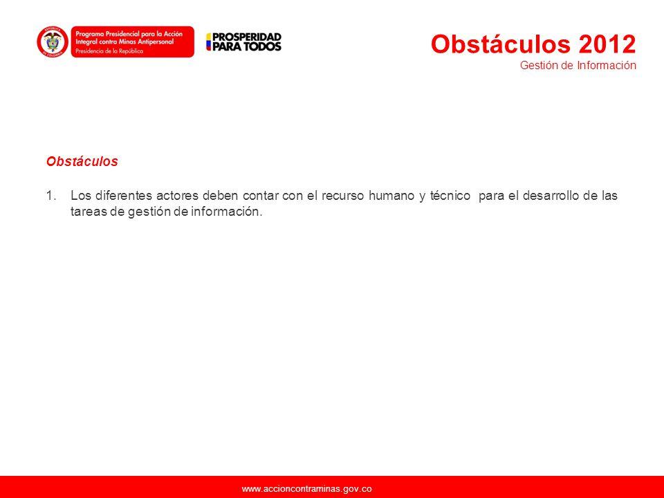 www.accioncontraminas.gov.co Obstáculos 1.Los diferentes actores deben contar con el recurso humano y técnico para el desarrollo de las tareas de gest