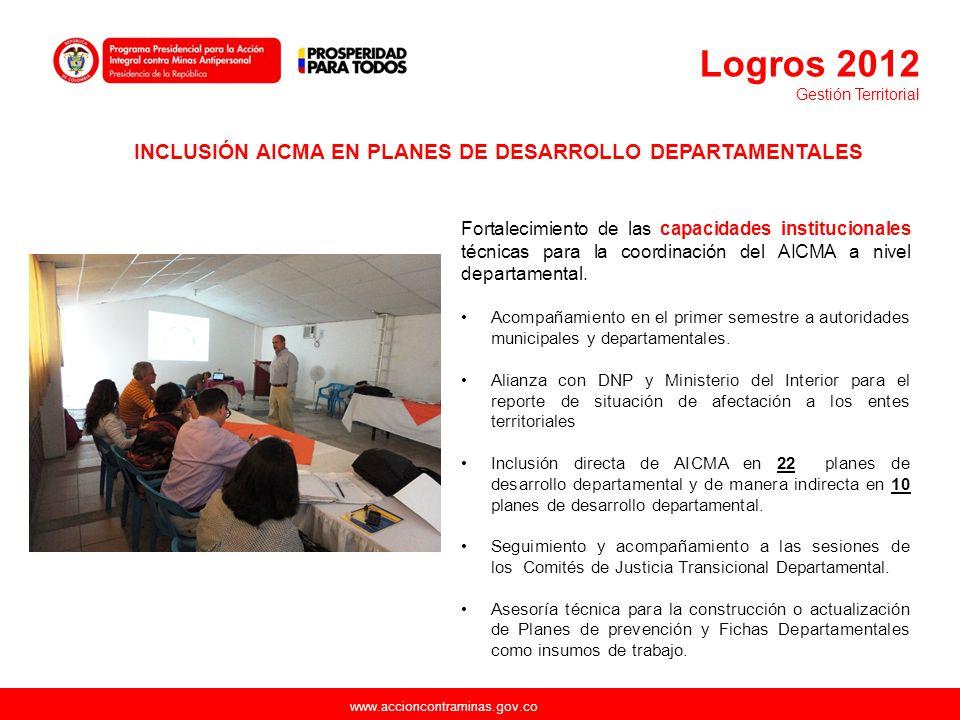 www.accioncontraminas.gov.co Fortalecimiento de las capacidades institucionales técnicas para la coordinación del AICMA a nivel departamental. Acompañ