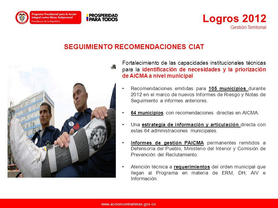 www.accioncontraminas.gov.co Fortalecimiento de las capacidades institucionales técnicas para la identificación de necesidades y la priorización de AI