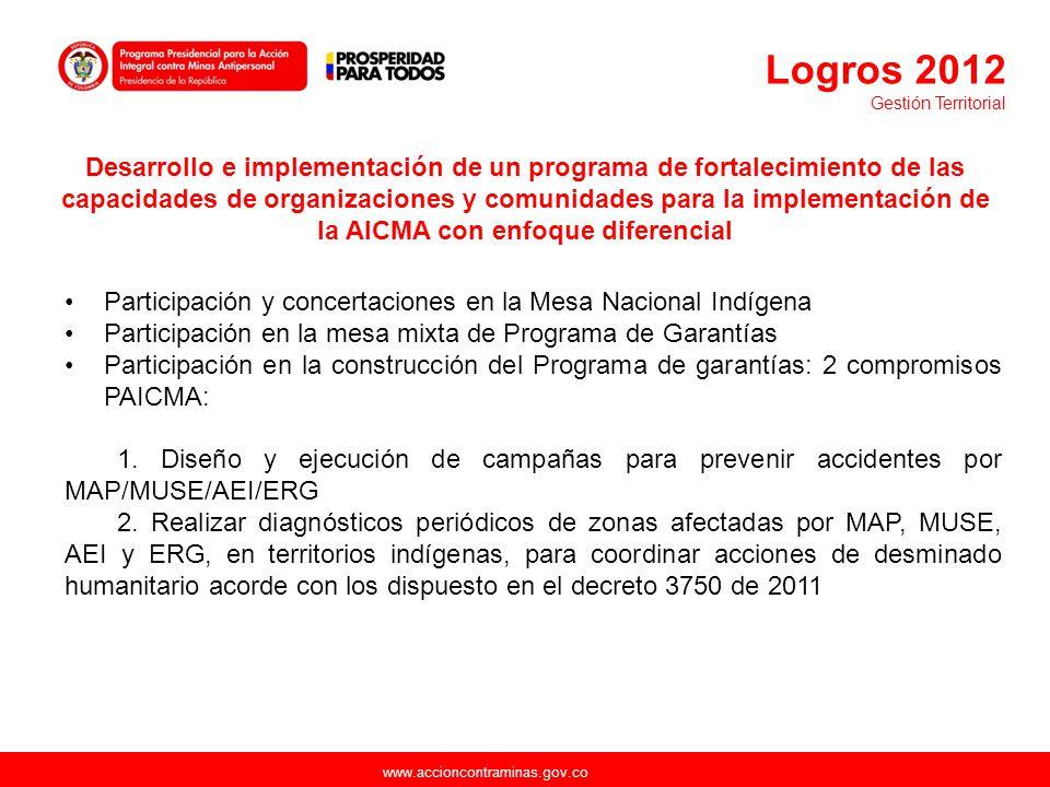 www.accioncontraminas.gov.co Desarrollo e implementación de un programa de fortalecimiento de las capacidades de organizaciones y comunidades para la