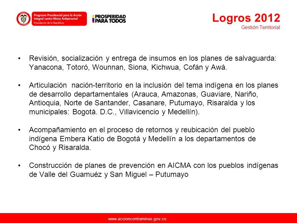 www.accioncontraminas.gov.co Revisión, socialización y entrega de insumos en los planes de salvaguarda: Yanacona, Totoró, Wounnan, Siona, Kichwua, Cof