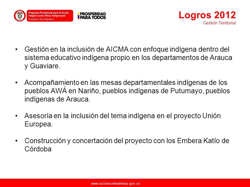 www.accioncontraminas.gov.co Gestión en la inclusión de AICMA con enfoque indígena dentro del sistema educativo indígena propio en los departamentos d