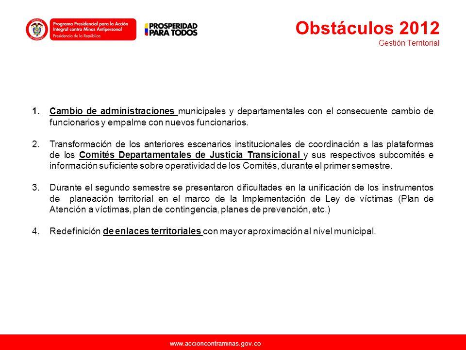 www.accioncontraminas.gov.co 1.Cambio de administraciones municipales y departamentales con el consecuente cambio de funcionarios y empalme con nuevos