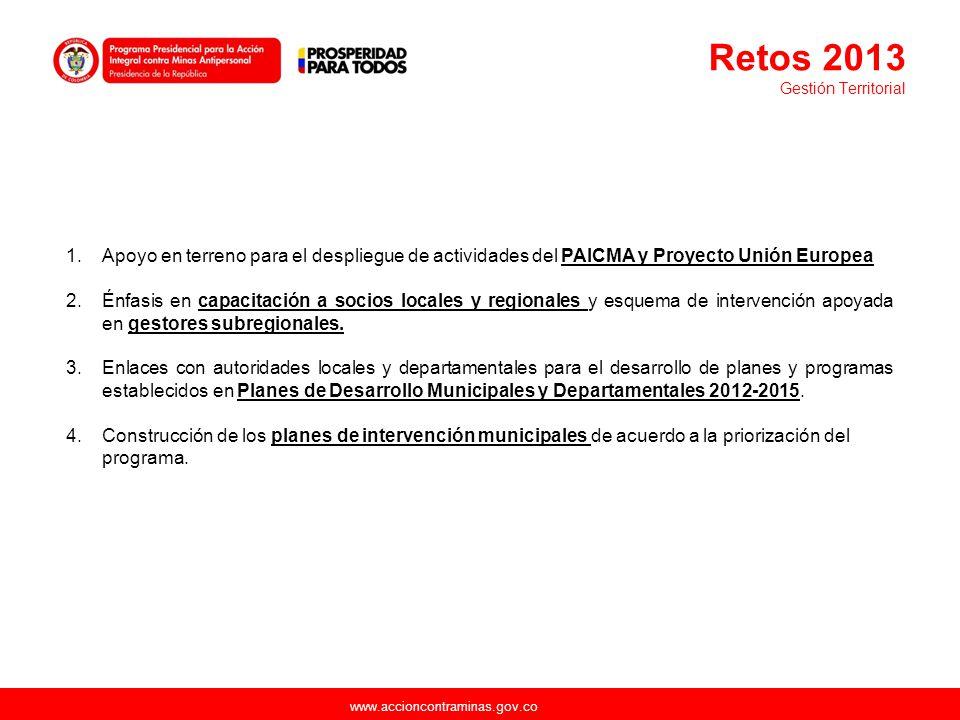 www.accioncontraminas.gov.co 1.Apoyo en terreno para el despliegue de actividades del PAICMA y Proyecto Unión Europea 2.Énfasis en capacitación a soci