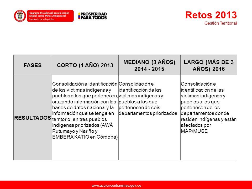 www.accioncontraminas.gov.co FASESCORTO (1 AÑO) 2013 MEDIANO (3 AÑOS) 2014 - 2015 LARGO (MÁS DE 3 AÑOS) 2016 RESULTADOS Consolidación e identificación