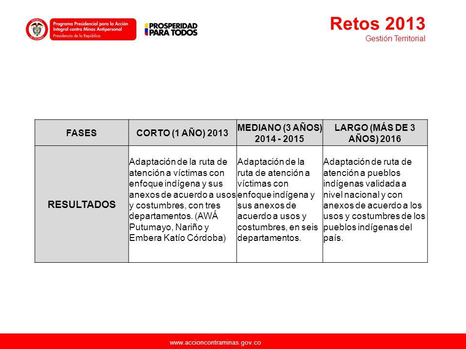 www.accioncontraminas.gov.co FASESCORTO (1 AÑO) 2013 MEDIANO (3 AÑOS) 2014 - 2015 LARGO (MÁS DE 3 AÑOS) 2016 RESULTADOS Adaptación de la ruta de atenc