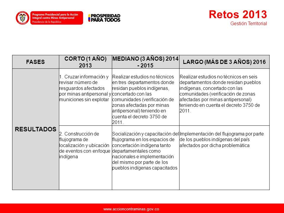 www.accioncontraminas.gov.co FASES CORTO (1 AÑO) 2013 MEDIANO (3 AÑOS) 2014 - 2015 LARGO (MÁS DE 3 AÑOS) 2016 RESULTADOS 1. Cruzar información y revis