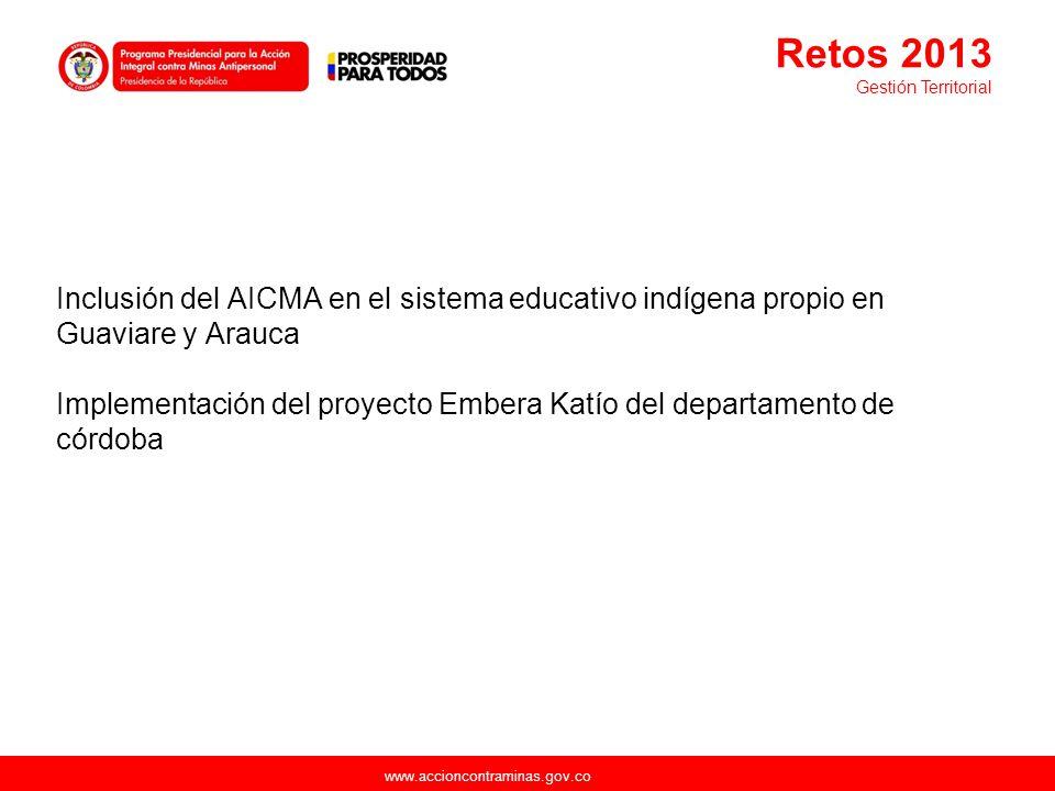 www.accioncontraminas.gov.co Inclusión del AICMA en el sistema educativo indígena propio en Guaviare y Arauca Implementación del proyecto Embera Katío