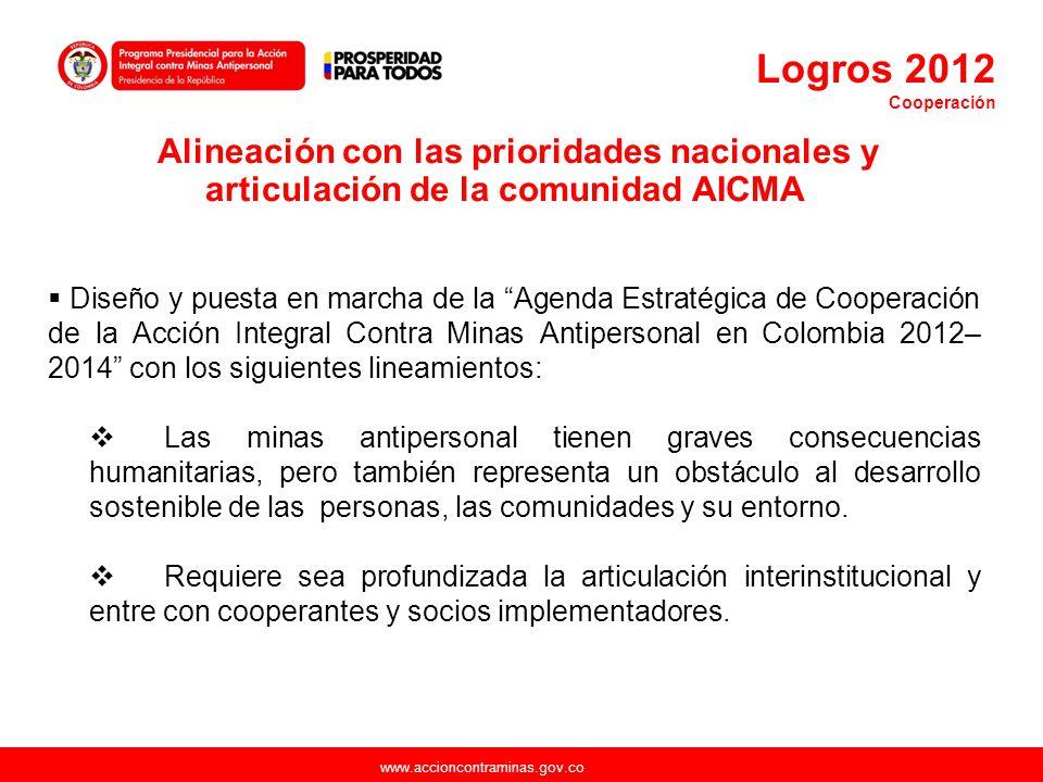 www.accioncontraminas.gov.co Diseño y puesta en marcha de la Agenda Estratégica de Cooperación de la Acción Integral Contra Minas Antipersonal en Colo