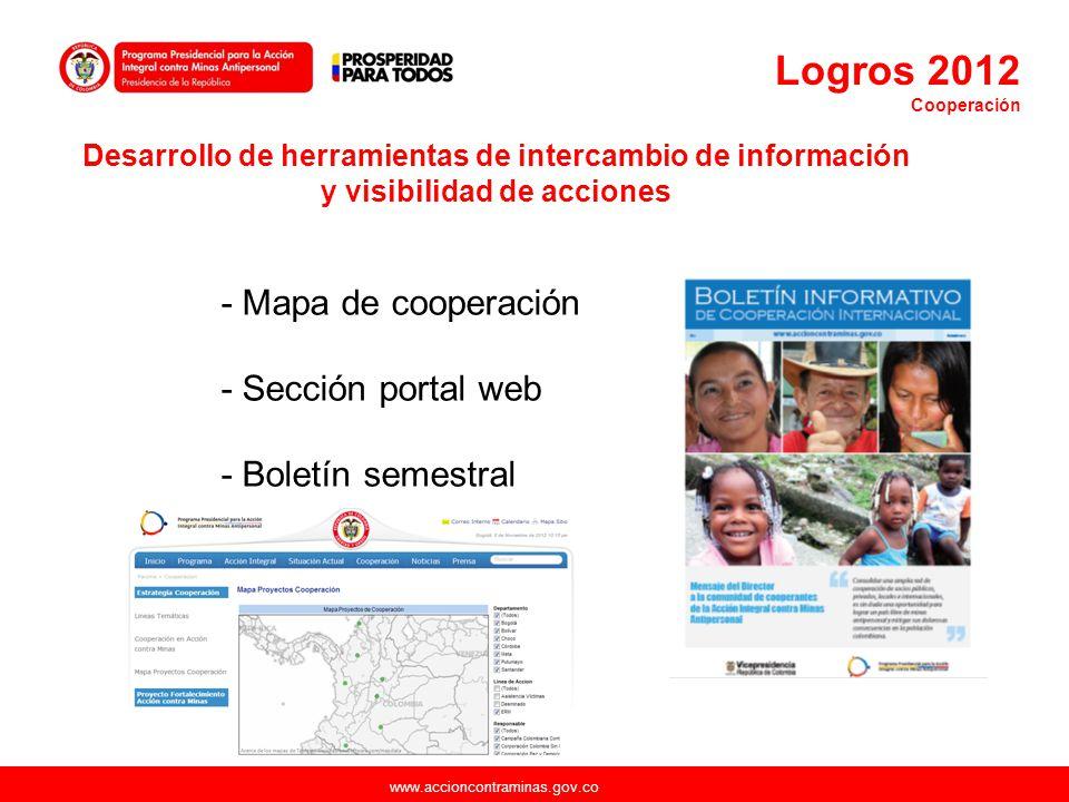 www.accioncontraminas.gov.co - Mapa de cooperación - Sección portal web - Boletín semestral Desarrollo de herramientas de intercambio de información y