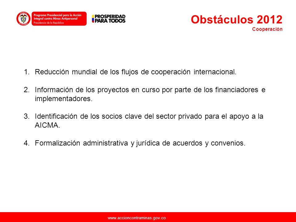 www.accioncontraminas.gov.co 1.Reducción mundial de los flujos de cooperación internacional. 2.Información de los proyectos en curso por parte de los