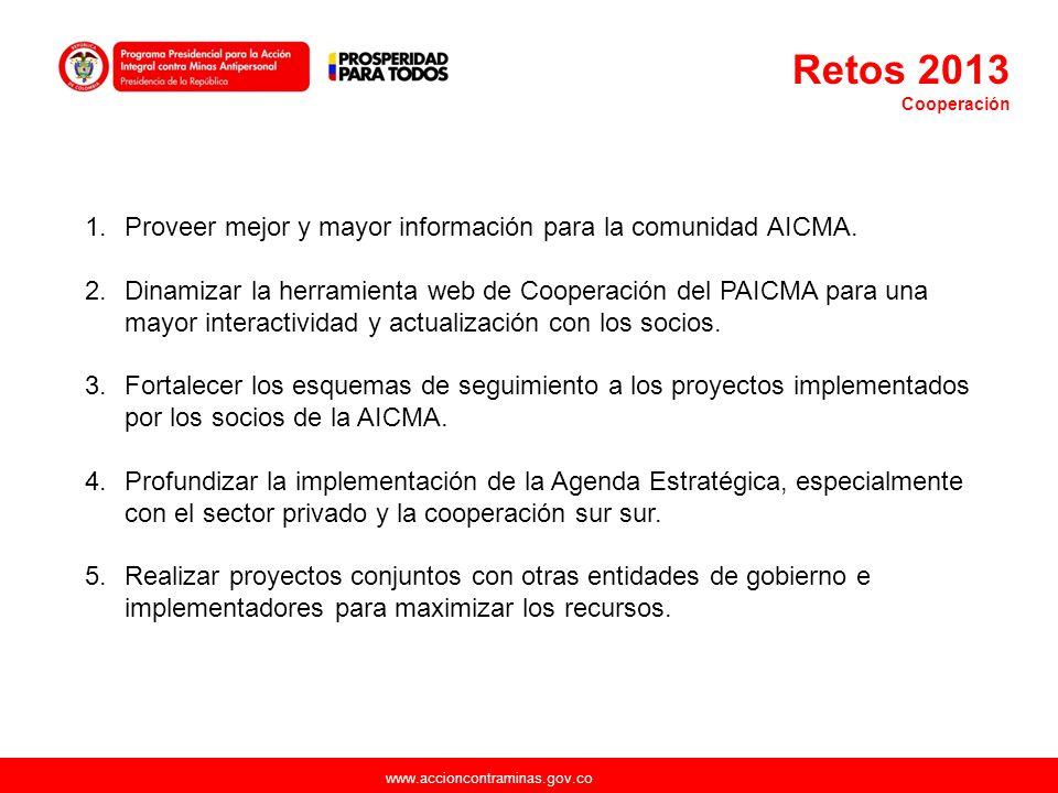 www.accioncontraminas.gov.co 1.Proveer mejor y mayor información para la comunidad AICMA. 2.Dinamizar la herramienta web de Cooperación del PAICMA par