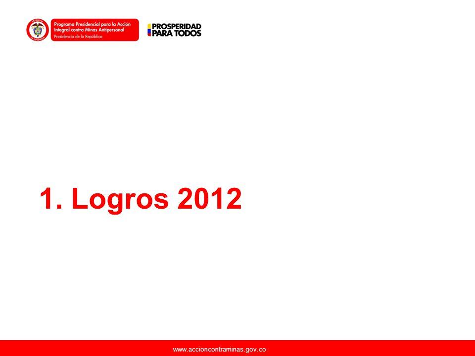 www.accioncontraminas.gov.co Continuar con el fortalecimiento del BIDES (aumento de pelotones y mejoramiento de procesos 2 nuevos pelotones en 2013.