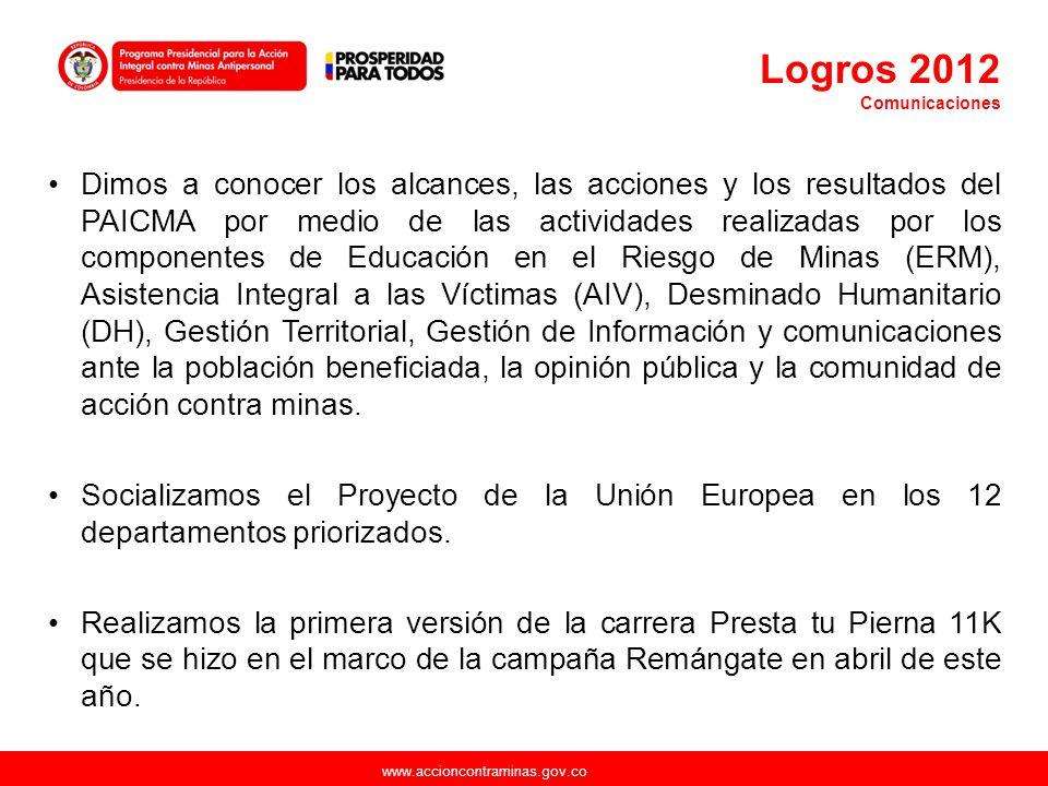 www.accioncontraminas.gov.co Dimos a conocer los alcances, las acciones y los resultados del PAICMA por medio de las actividades realizadas por los co