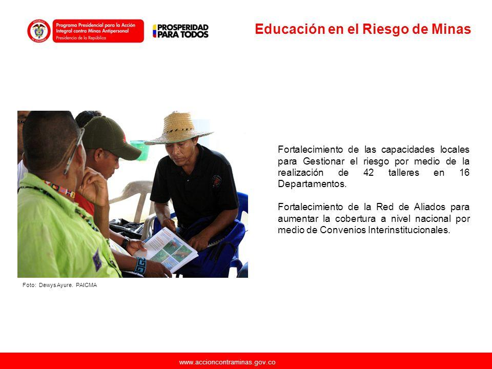 www.accioncontraminas.gov.co Fortalecimiento de las capacidades institucionales técnicas para la identificación de necesidades y la priorización de AICMA a nivel municipal Recomendaciones emitidas para 105 municipios durante 2012 en el marco de nuevos Informes de Riesgo y Notas de Seguimiento a informes anteriores.