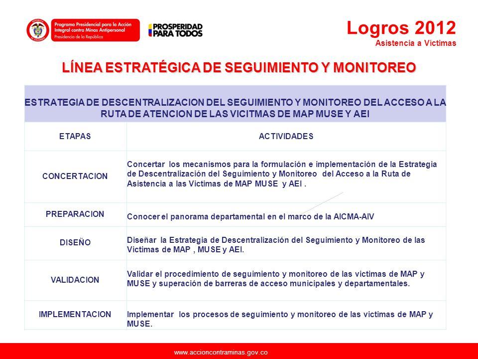 www.accioncontraminas.gov.co ESTRATEGIA DE DESCENTRALIZACION DEL SEGUIMIENTO Y MONITOREO DEL ACCESO A LA RUTA DE ATENCION DE LAS VICITMAS DE MAP MUSE