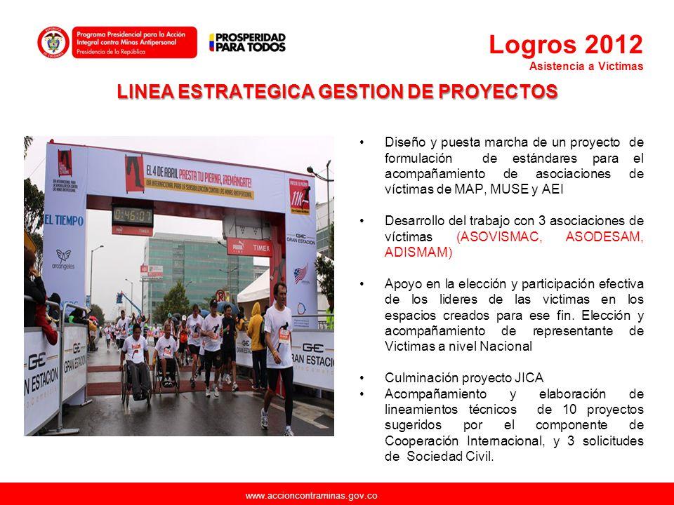 www.accioncontraminas.gov.co LINEA ESTRATEGICA GESTION DE PROYECTOS Diseño y puesta marcha de un proyecto de formulación de estándares para el acompañ