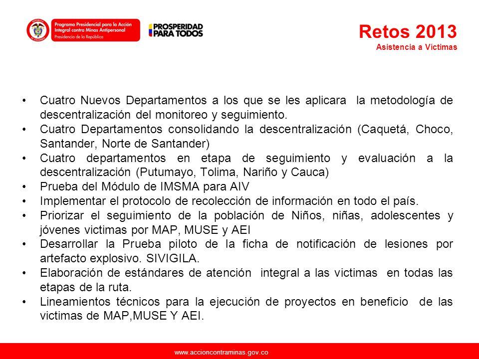 www.accioncontraminas.gov.co Cuatro Nuevos Departamentos a los que se les aplicara la metodología de descentralización del monitoreo y seguimiento. Cu