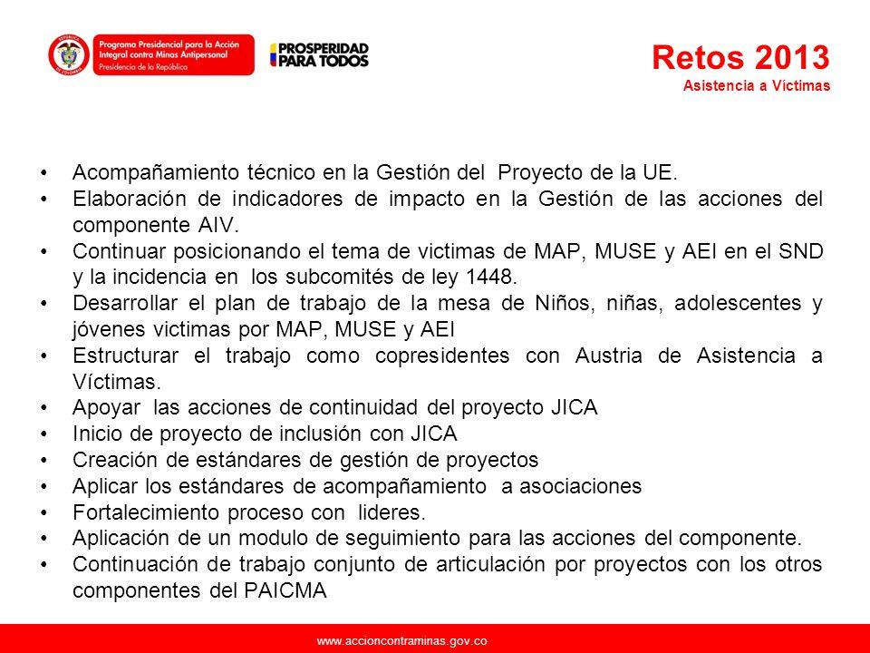 www.accioncontraminas.gov.co Acompañamiento técnico en la Gestión del Proyecto de la UE. Elaboración de indicadores de impacto en la Gestión de las ac