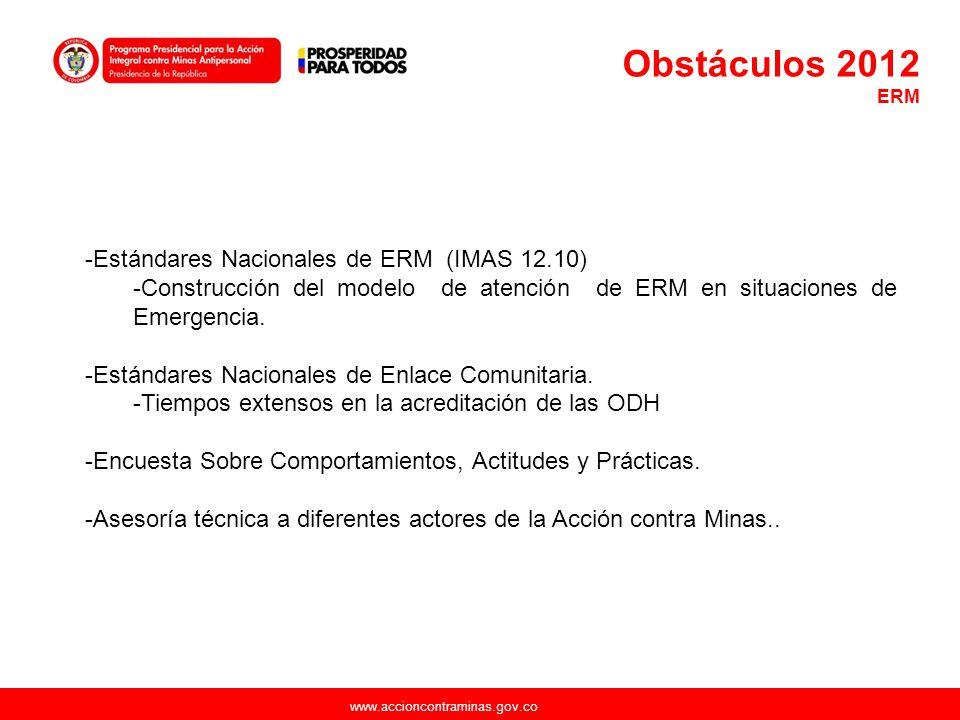 www.accioncontraminas.gov.co -Estándares Nacionales de ERM (IMAS 12.10) -Construcción del modelo de atención de ERM en situaciones de Emergencia. -Est