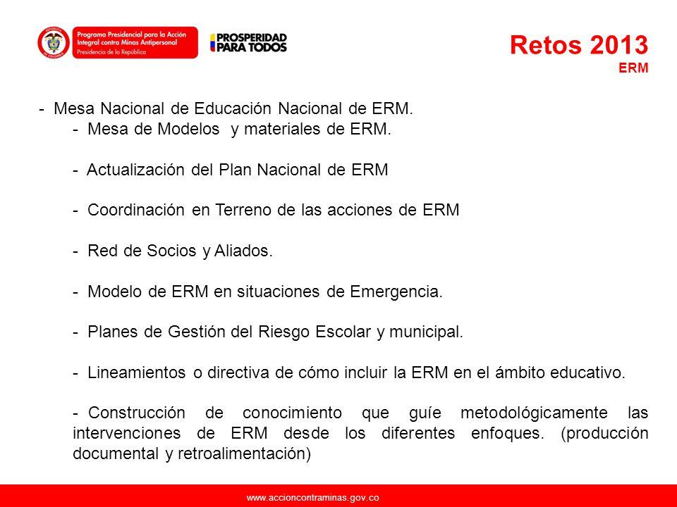 www.accioncontraminas.gov.co - Mesa Nacional de Educación Nacional de ERM. - Mesa de Modelos y materiales de ERM. - Actualización del Plan Nacional de