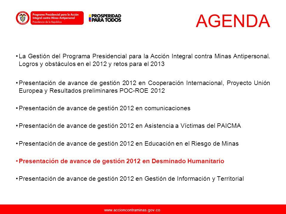 www.accioncontraminas.gov.co AGENDA La Gestión del Programa Presidencial para la Acción Integral contra Minas Antipersonal. Logros y obstáculos en el