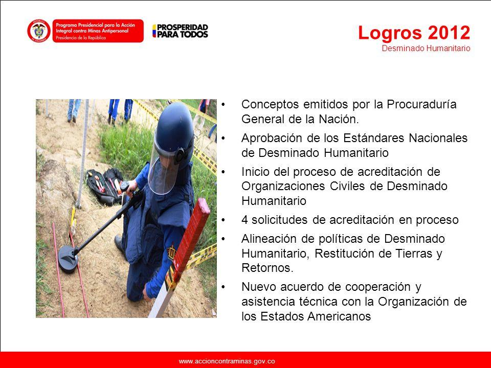 www.accioncontraminas.gov.co Conceptos emitidos por la Procuraduría General de la Nación. Aprobación de los Estándares Nacionales de Desminado Humanit