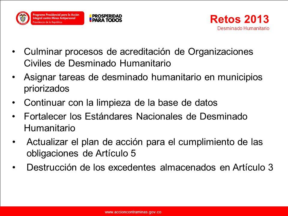 www.accioncontraminas.gov.co Culminar procesos de acreditación de Organizaciones Civiles de Desminado Humanitario Asignar tareas de desminado humanita
