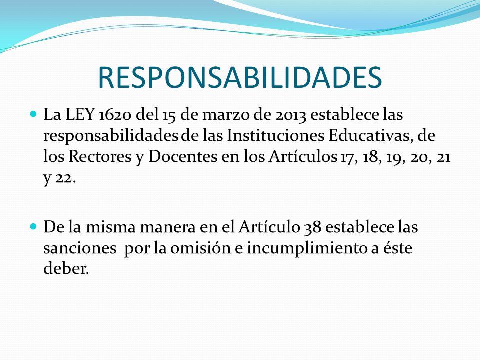 RESPONSABILIDADES La LEY 1620 del 15 de marzo de 2013 establece las responsabilidades de las Instituciones Educativas, de los Rectores y Docentes en l