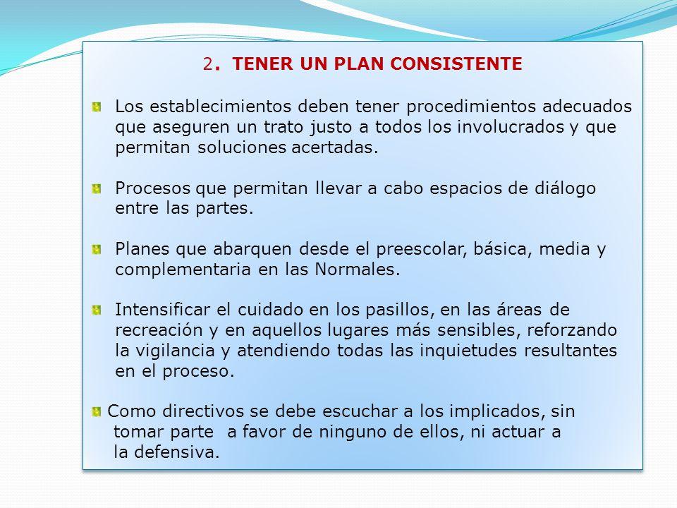 2. TENER UN PLAN CONSISTENTE Los establecimientos deben tener procedimientos adecuados que aseguren un trato justo a todos los involucrados y que perm