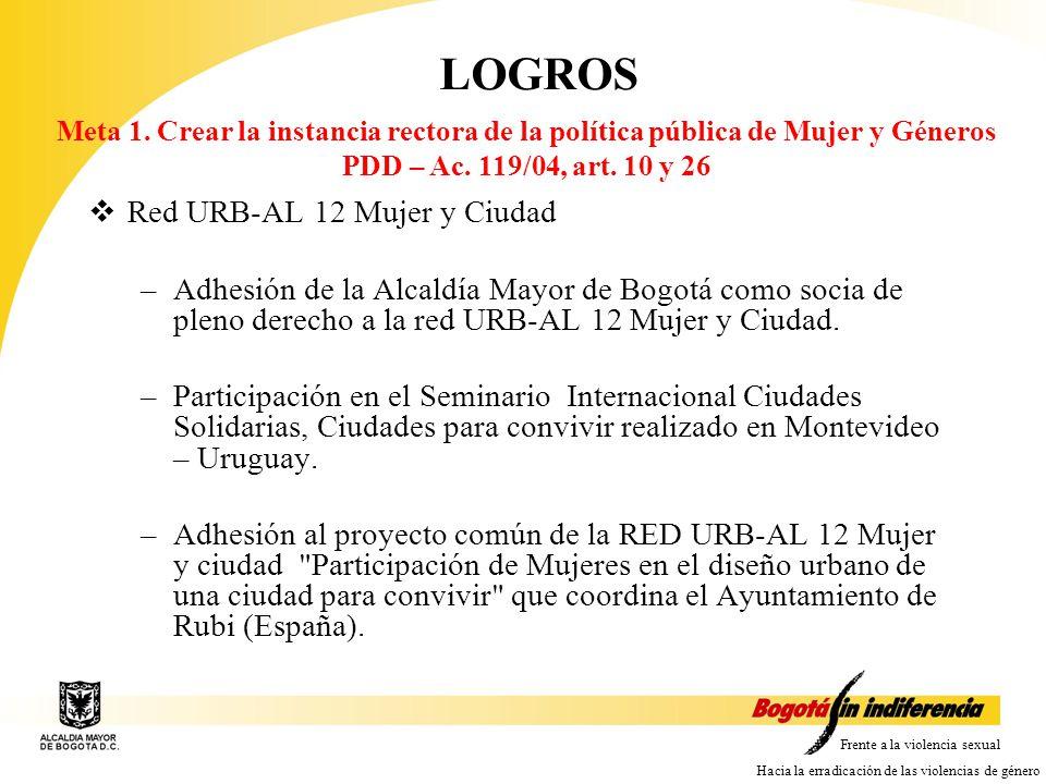 Frente a la violencia sexual Hacia la erradicación de las violencias de género Red URB-AL 12 Mujer y Ciudad –Adhesión de la Alcaldía Mayor de Bogotá como socia de pleno derecho a la red URB-AL 12 Mujer y Ciudad.