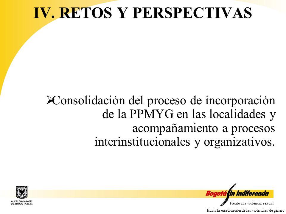 Frente a la violencia sexual Hacia la erradicación de las violencias de género Consolidación del proceso de incorporación de la PPMYG en las localidades y acompañamiento a procesos interinstitucionales y organizativos.