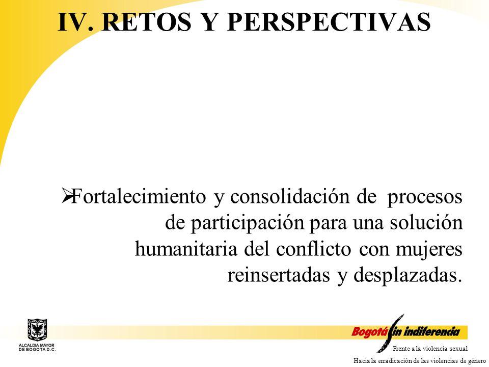 Frente a la violencia sexual Hacia la erradicación de las violencias de género Fortalecimiento y consolidación de procesos de participación para una solución humanitaria del conflicto con mujeres reinsertadas y desplazadas.