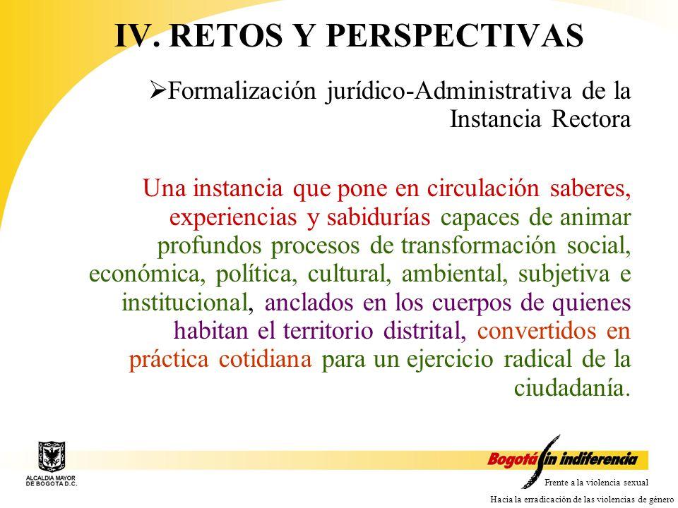 Frente a la violencia sexual Hacia la erradicación de las violencias de género IV.