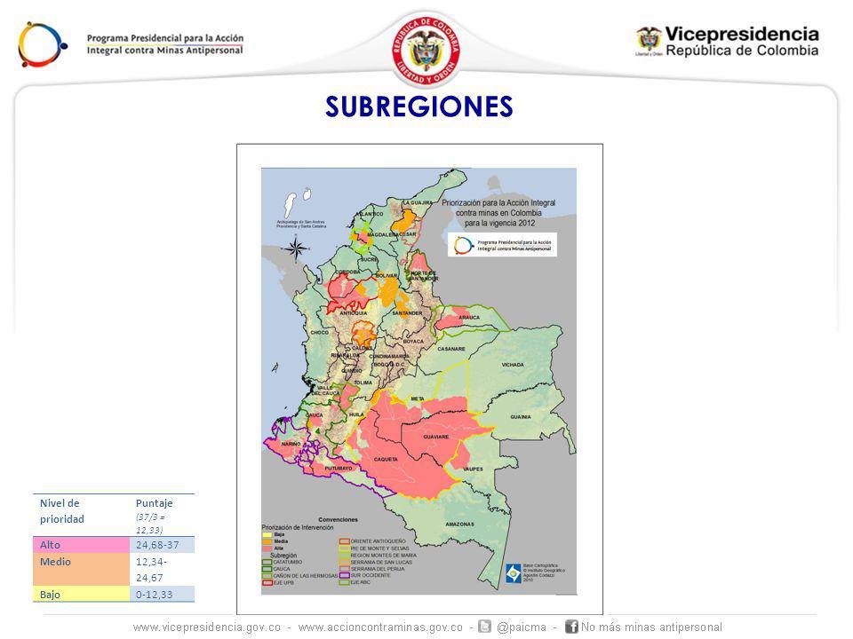 SUBREGIONES Nivel de prioridad Puntaje (37/3 = 12,33) Alto24,68-37 Medio 12,34- 24,67 Bajo0-12,33