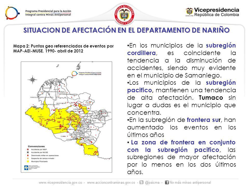 En los municipios de la subregión cordillera, es coincidente la tendencia a la disminución de accidentes, siendo muy evidente en el municipio de Saman