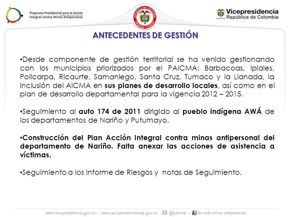 ANTECEDENTES DE GESTIÓN Desde componente de gestión territorial se ha venido gestionando con los municipios priorizados por el PAICMA: Barbacoas, Ipia